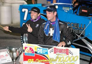 John and Otto celebrate their team's second Mr. Supermodified victory in July 2015 (Roy Dewhurst photo)
