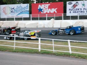 Sitterly works traffic during practice at Oswego Speedway (Roy Dewhurst photo)