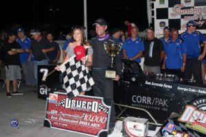 Otto Sitterly and team in victory lane after his fourth career Mr. Supermodified feature win (Robert J Clark photo)