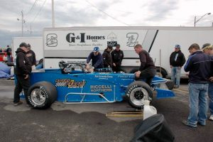 The Nicotra team prepares for action on a cold May 14 night for the 2016 Oswego Speedway opener (Roy Dewhurst photo)