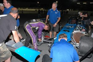 Otto and the team salvage what's left of the 7 to get back on track (Roy Dewhurst photo)