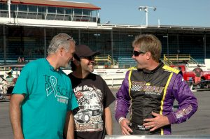 John Nicotra (center) shares a laugh with Davey Sr. and crew chief Joseph Peri (Roy Dewhurst photo)