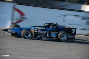 Otto Sitterly drives his No. 7 Nicotra Racing Supermodified during the 2017 Shampine Memorial event (Alex Borland Race Media photo)
