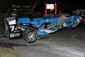 Otto's car goes off on the hook after a lap 101 wreck while running third (Alex Borland Race Media photo)