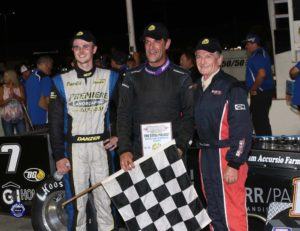 Otto in victory lane after his third win of the year, flanked by runner-up Doug Didero (right) and third-place Dave Danzer (Robert J Clark photo)