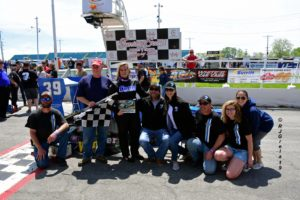 First female supermodified winner Alison Sload and the Nicotra team, Shampine Mem. 2019 (Robert Clark)