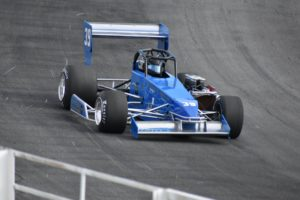 Alison Sload at speed on Classic weekend at Oswego Speedway (Rich Eider photo)