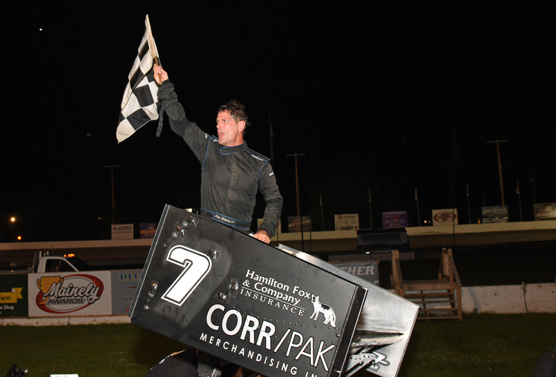 Otto climbs from his Nicotra machine after capturing his first ISMA win at Lee USA (Jim Feeney photo)